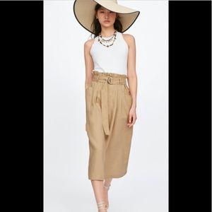 Zara Khaki belted linen skirt